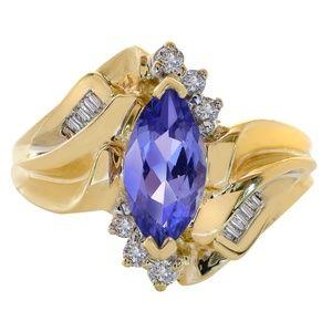 1.20 Carat Tanzanite & Diamond Ring 14K Gold